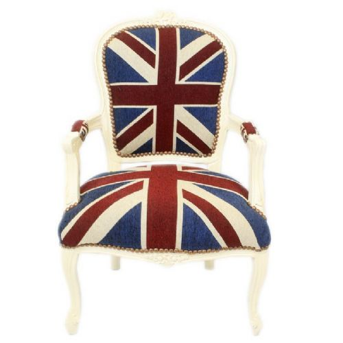 CHAIRS FRANCE BAROQUE STYLE LADY CHAIR WITH ARMRESTS CREAM / UNION JACK #55F3